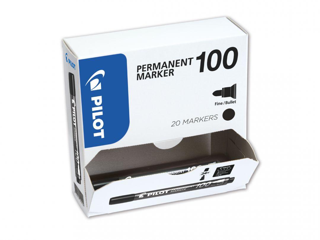 Marker Permanent  100 - Marker - Pachet XXL - Negru - Vârf Fin