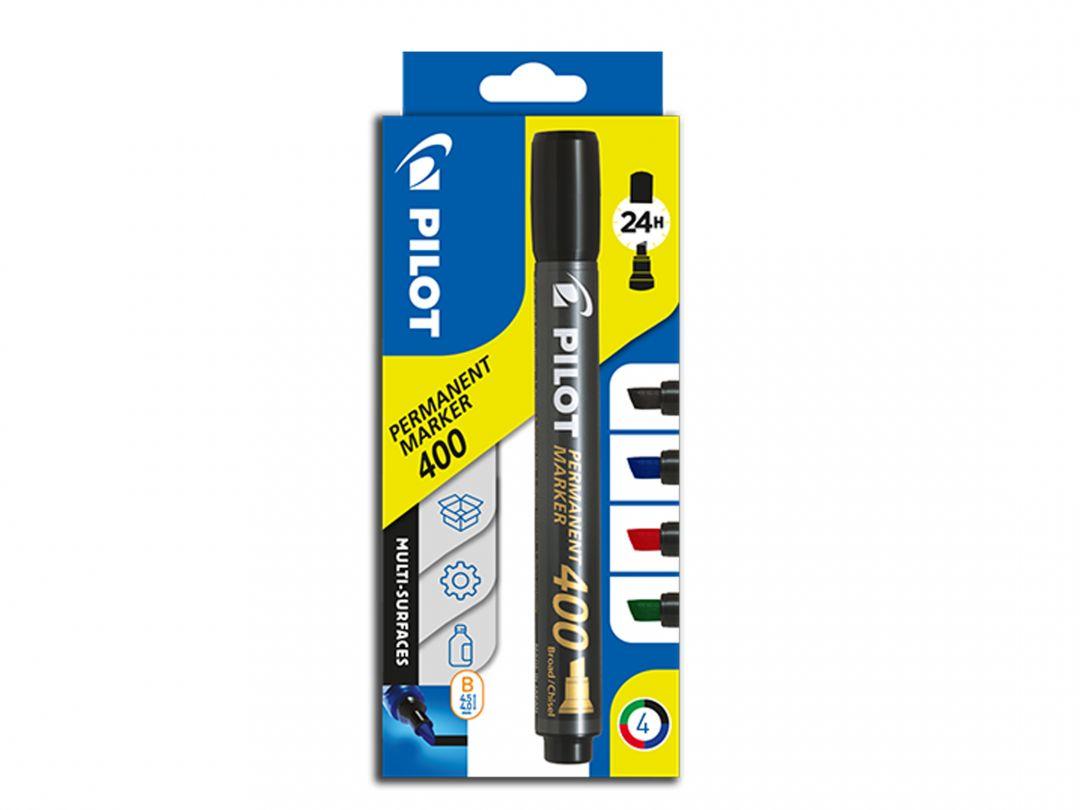 Marker Permanent  400 - Marker - Pungă de 4 - Negru, Albastru, Roşu, Verde - Vârf Gros Teșit